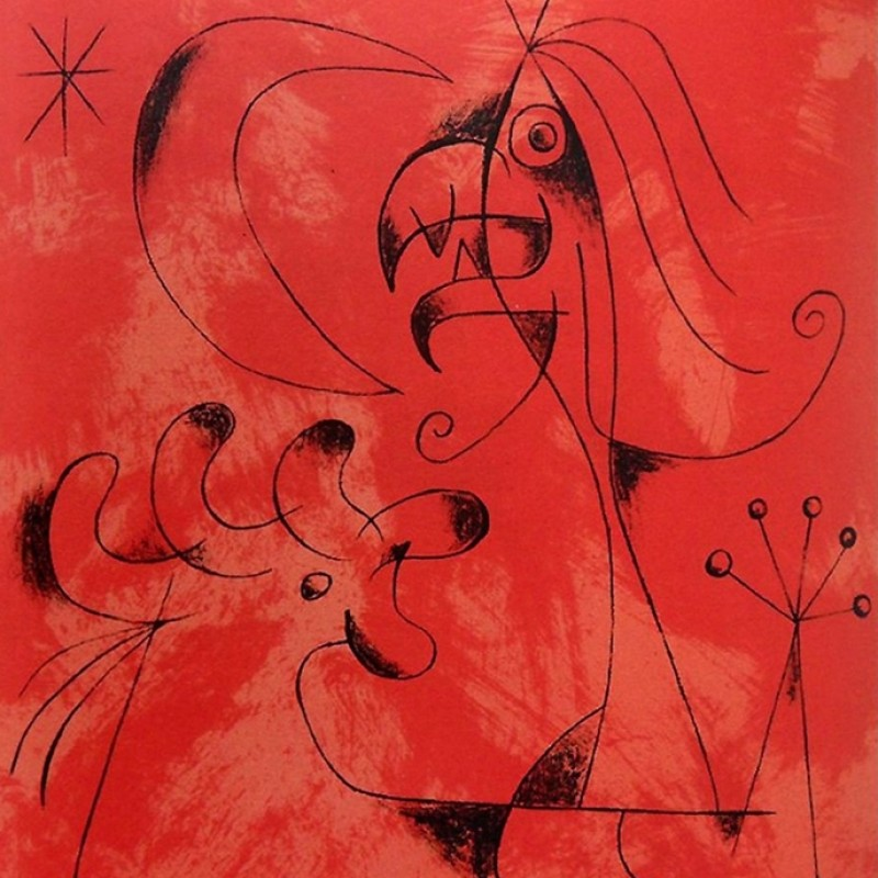 "Limited Edition Lithograph by JOAN MIRO ""Wizard with Moon & Stars"" - 1956"