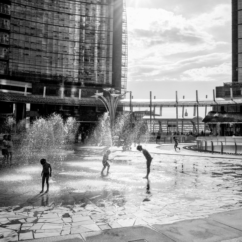 """Water games - Piazza Gae Aulenti"" by Alberto Scandalitta"