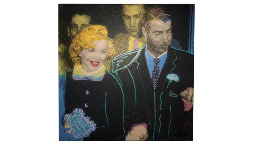 """Marilyn and Joe DiMaggio, Wedding 2"" by Steve Kaufman"