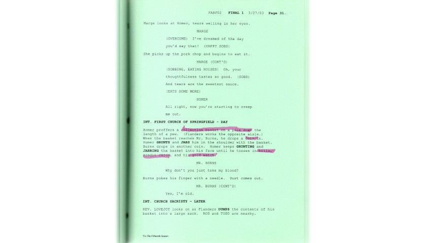 The Simpsons Original Script - 'Tis the Fifteenth Season