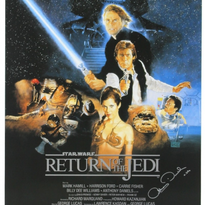 """Anthony Daniels Signed Star Wars Return of the Jedi Poster with """"C-3PO"""" Inscription"""