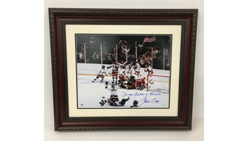"""""""Do You Believe in Miracles"""" Hand Signed and Inscribed by Jim Craig, USA Olympic Hockey Team"""