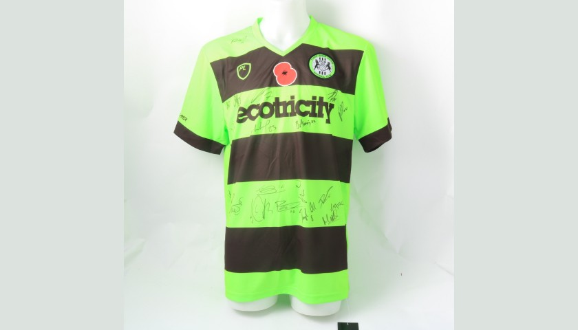 Forest Green Rovers Official Poppy Shirt Signed by the Team