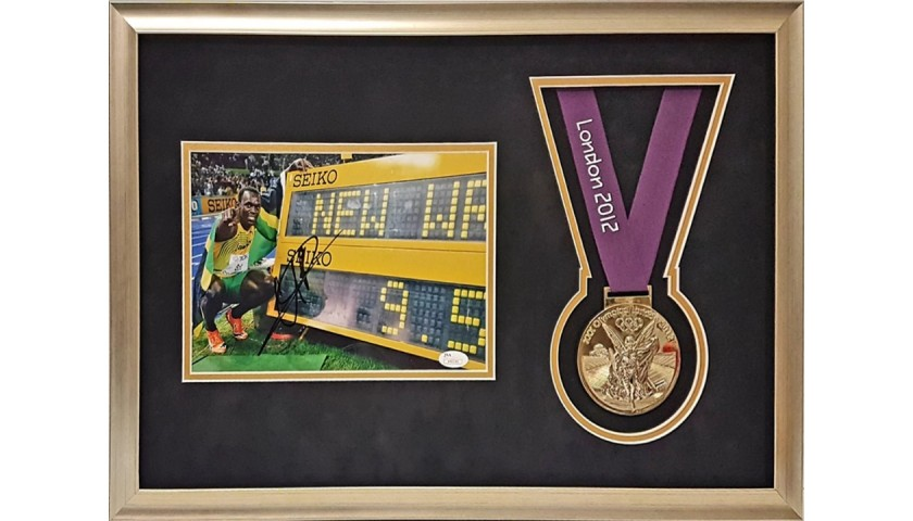 Usain Bolt Signed Picture with Replica London 2012 Gold Medal