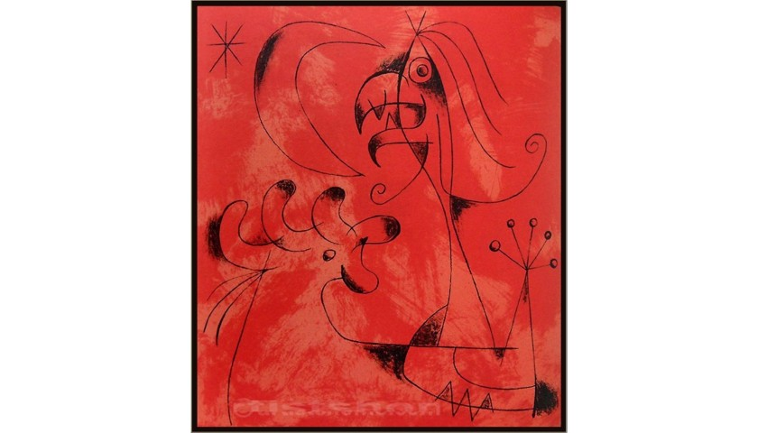 """Limited Edition Lithograph by JOAN MIRO """"Wizard with Moon & Stars"""" - 1956"""