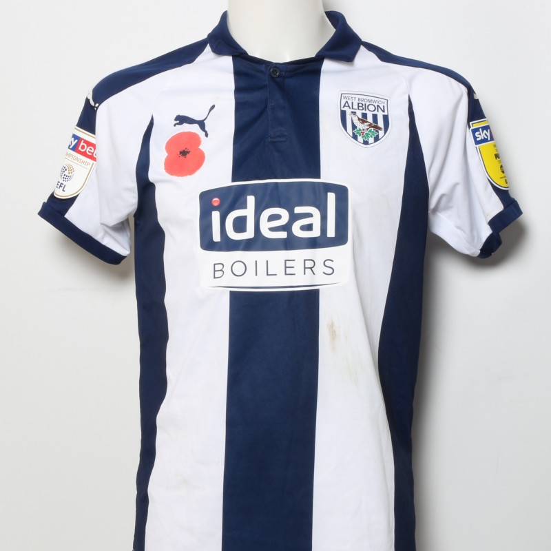 Hal Robson-Kanu's West Bromwich Albion  Worn and Signed Home Poppy Shirt