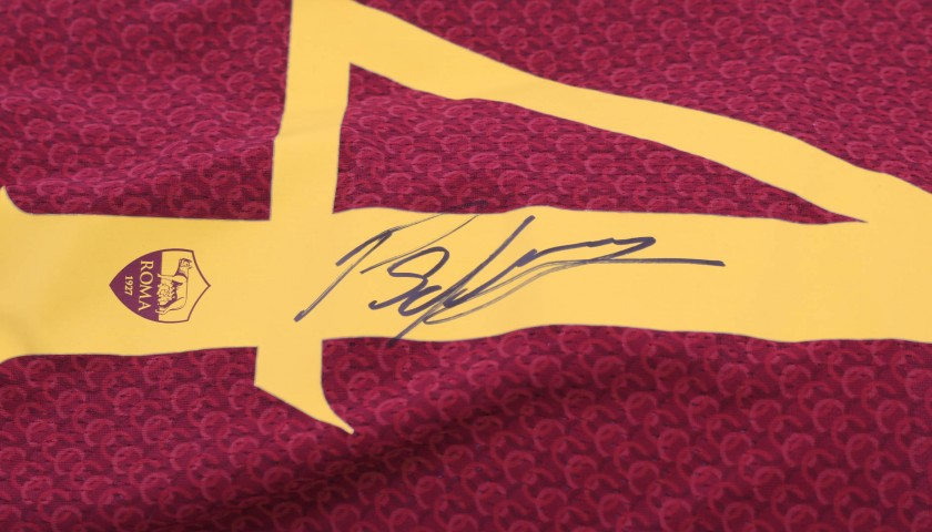 Schick's Worn and Signed Shirt, Roma-Genoa 2018
