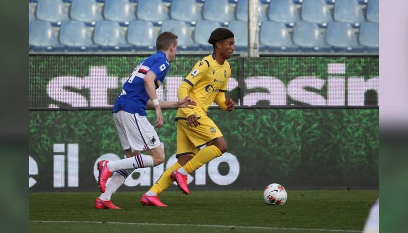 Salcedo's Worn and Signed Shirt, Sampdoria-Verona 2020