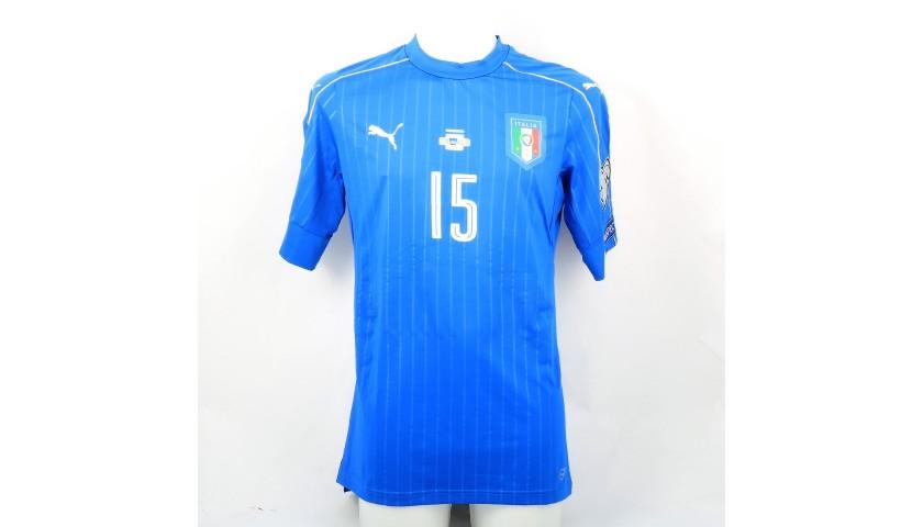 28256f101 Maglia Barzagli preparata / indossata Italia-Albania 2017 - CharityStars