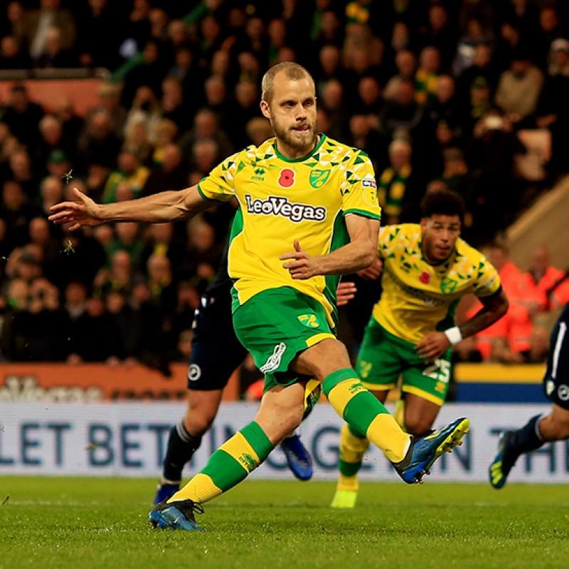Pukki's Worn and Signed Norwich City Poppy Shirt