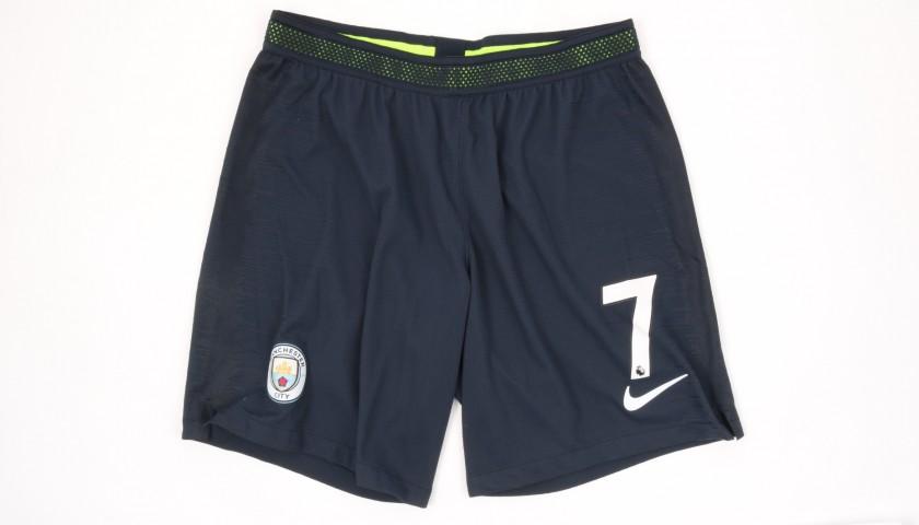 Sterling's Manchester City Match Navy/Volt Shorts, Premier League 2018/19