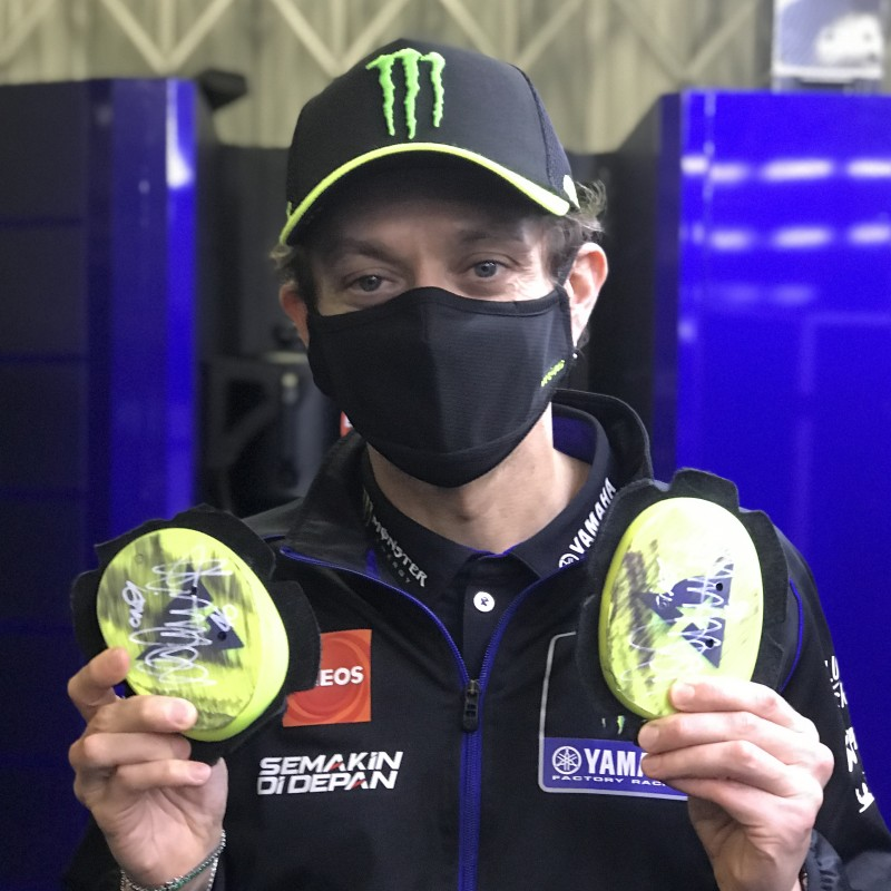 Signed Valentino Rossi Knee Sliders from His Podium Finish at the Andalucía Grand Prix