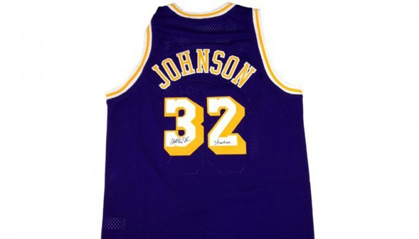 best website 515d2 d0e27 Auction LA Lakers Basketball Jersey Signed by Magic Johnson