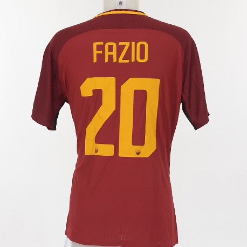 Fazio's Match-Worn 2017/18 Roma-Lazio Shirt