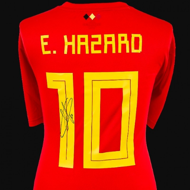 Eden Hazard Back Signed Belgium 2018 Home Shirt