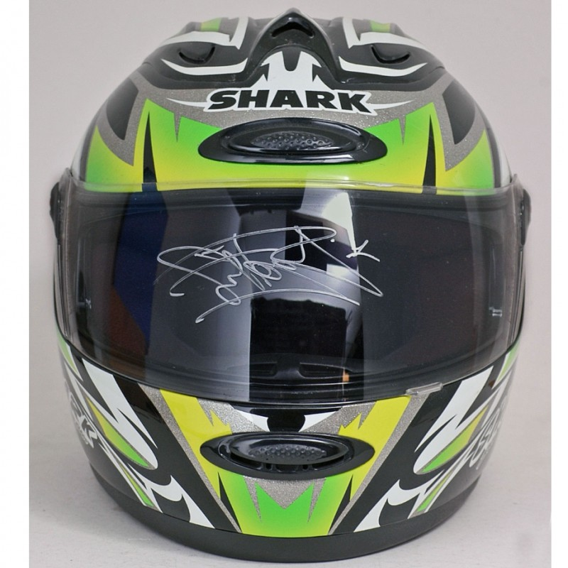Carl Fogarty Hand Signed Green Shark Superbike Full-Sized Helmet