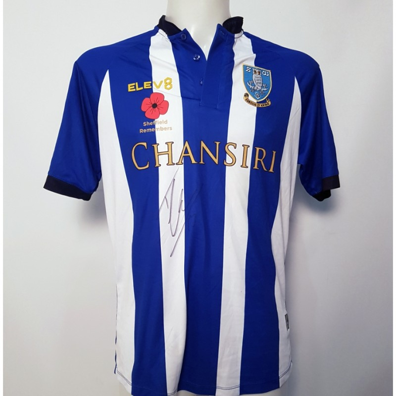 Tom Lees' Sheffield Wednesday Worn and Signed Poppy Home Shirt