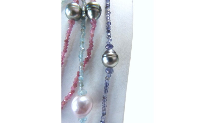 3 Long Necklaces with Pink Tourmaline, Aquamarine, Iolite, and Pearls