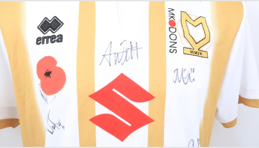 MK Dons Official Poppy Shirt Signed by the Team