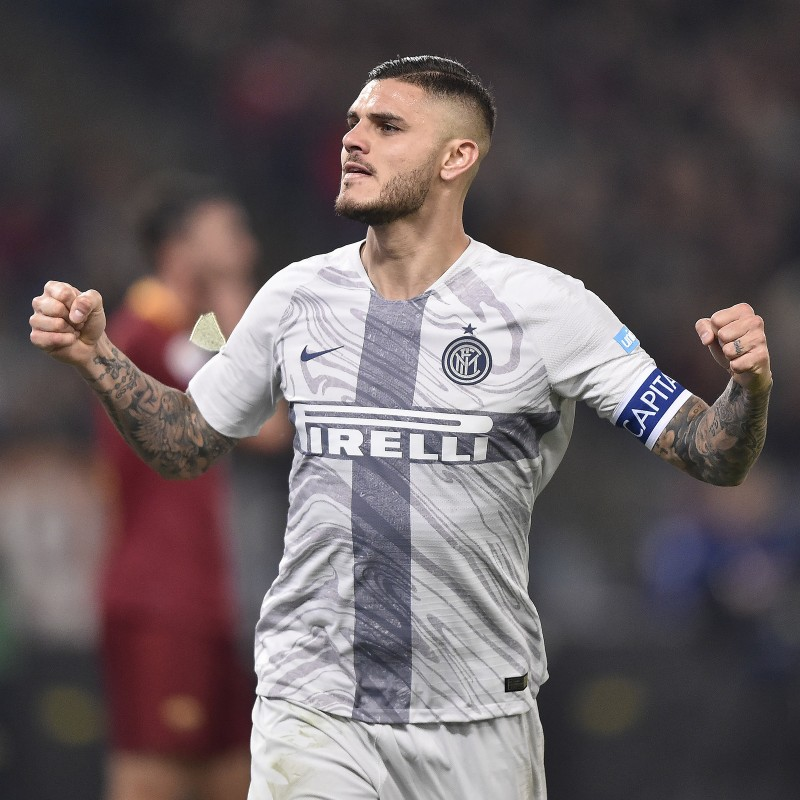 Icardi's Worn Shirt with Special UNICEF Patch, Roma-Inter 2018
