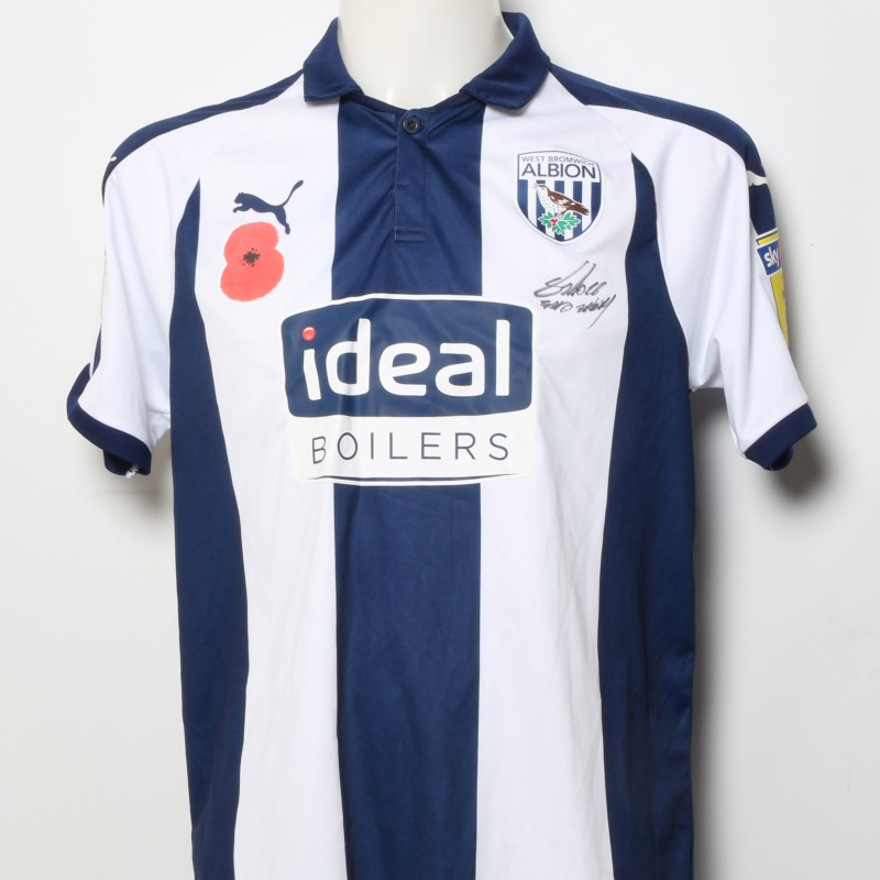 Bakary Sako s West Bromwich Albion Worn and Signed Home Poppy Shirt 884d0c321