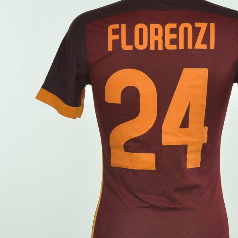 Authenticated Florenzi shirt worn during Frosinone 0-2 Roma