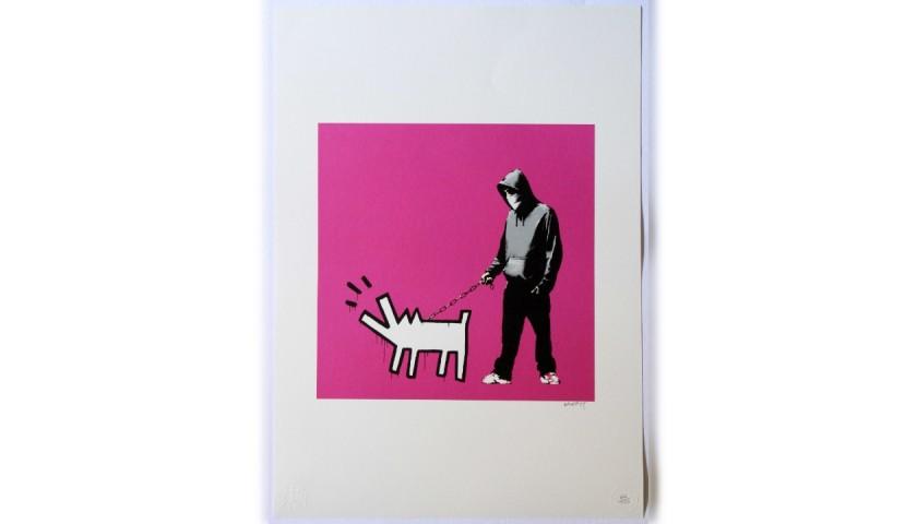 """Tribute to Barking Dog (Haring)"" - Banksy Grafiart UK Offset Lithograph"