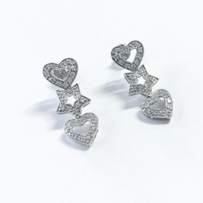 18KT White Gold Diamond Earrings with Hearts and Stars