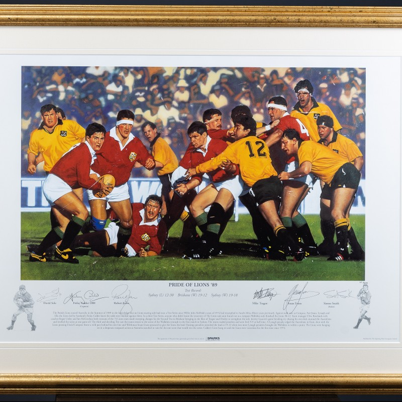 Framed Signed Limited Edition 'Pride of Lions' Print from the 1989 Tour to AU