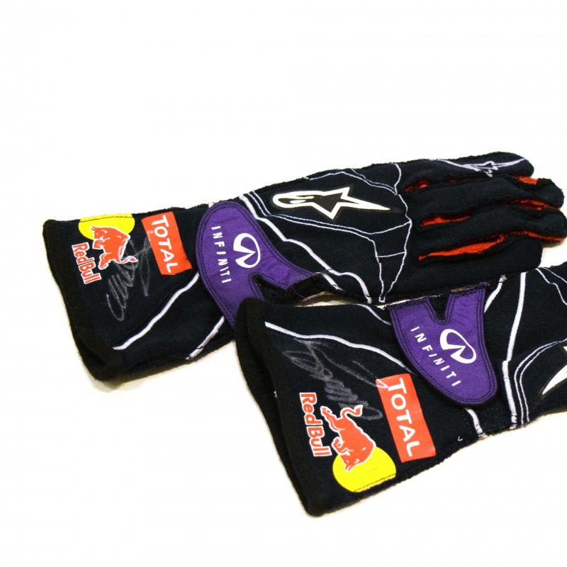 A Pair of Mark Webber Signed Racing Gloves