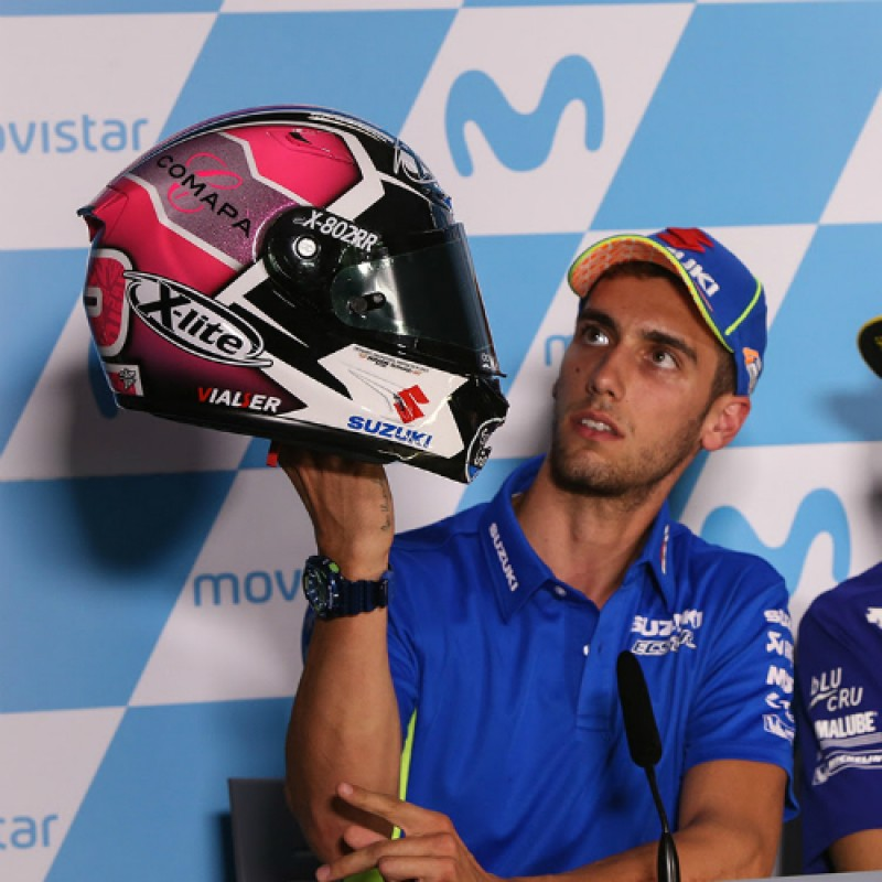 Alex Rins' #PinkRacing Helmet Worn at Aragon MotoGP