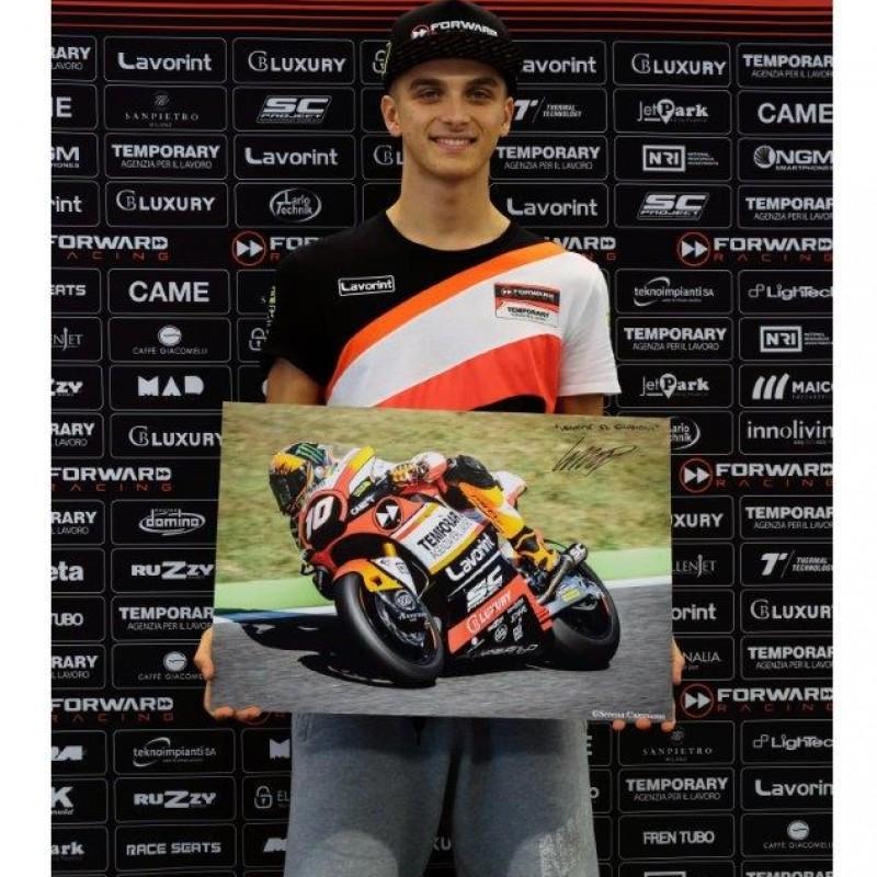 Signed Professional Photo Print of Racer Luca Marini