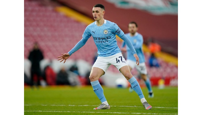 Original Phil Foden Match Worn and Signed Jersey vs. Liverpool