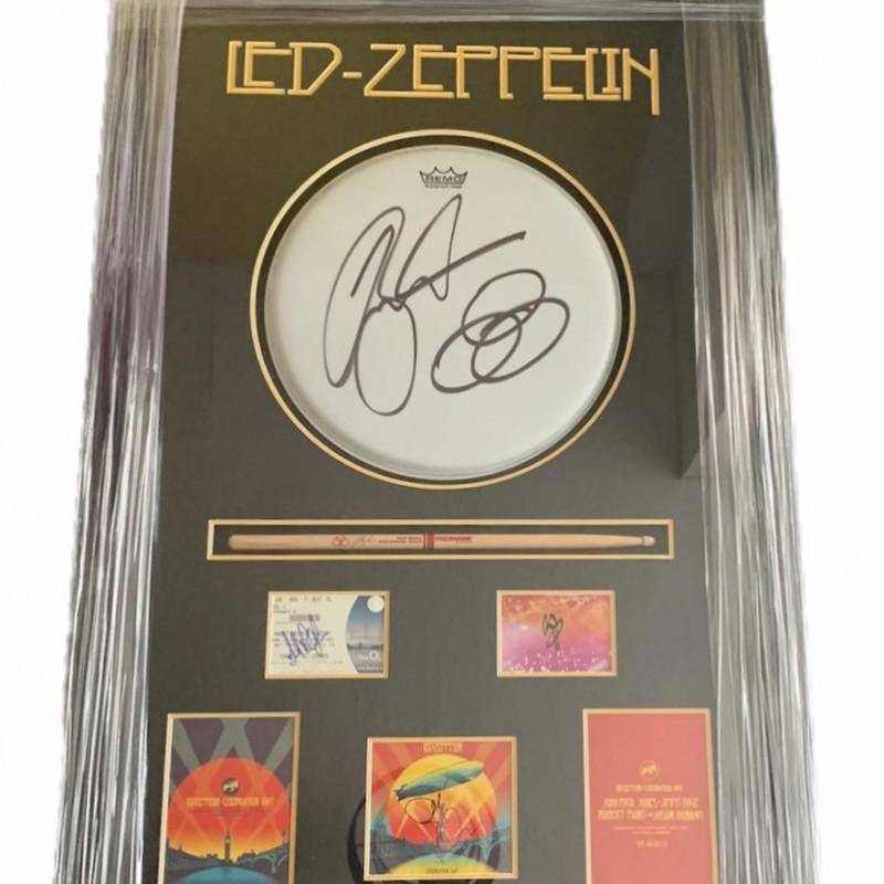 Led Zeppelin Fully Signed One Of A Kind Celebration Day Huge Framed Display
