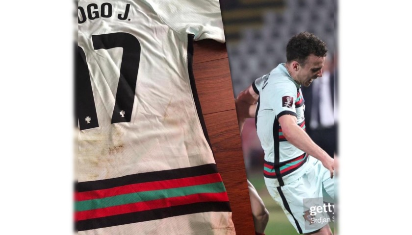 Diogo Jota's Worn and Unwashed Shirt, Serbia-Portugal 2021
