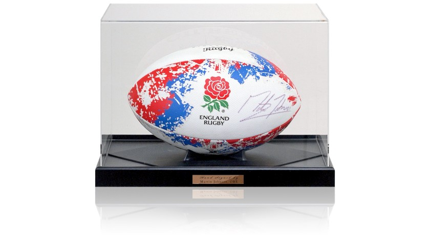Martin Johnson OBE Hand Signed England Rugby Ball Photo