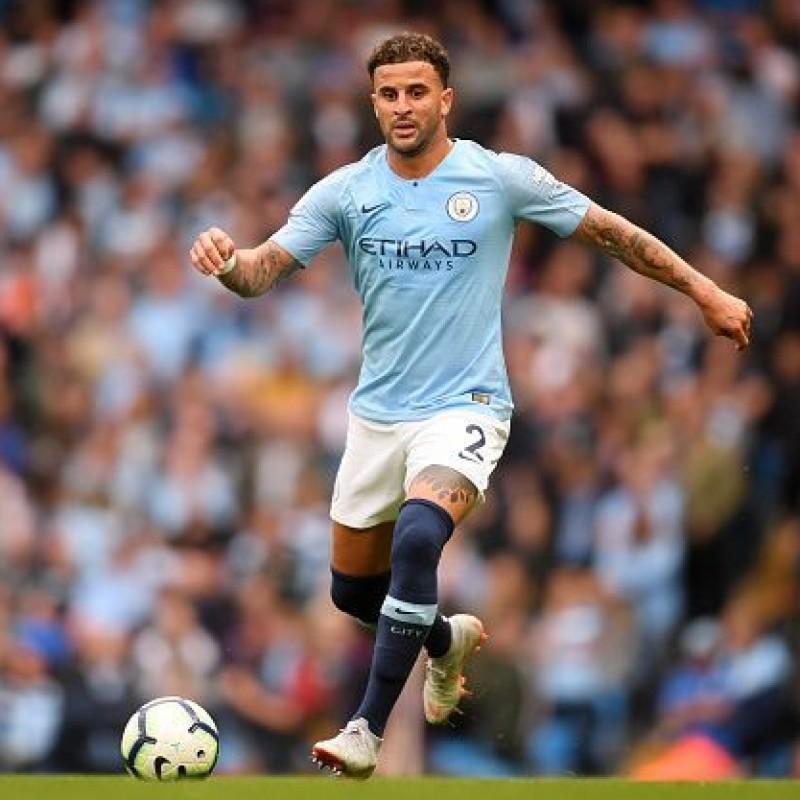 Walker's Manchester City Match White Shorts, Premier League 2018/19