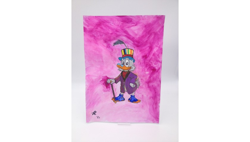 "Original Pop Art Board ""Scrooge McDuck Mardi Gras in New Orleans"" by J.E."