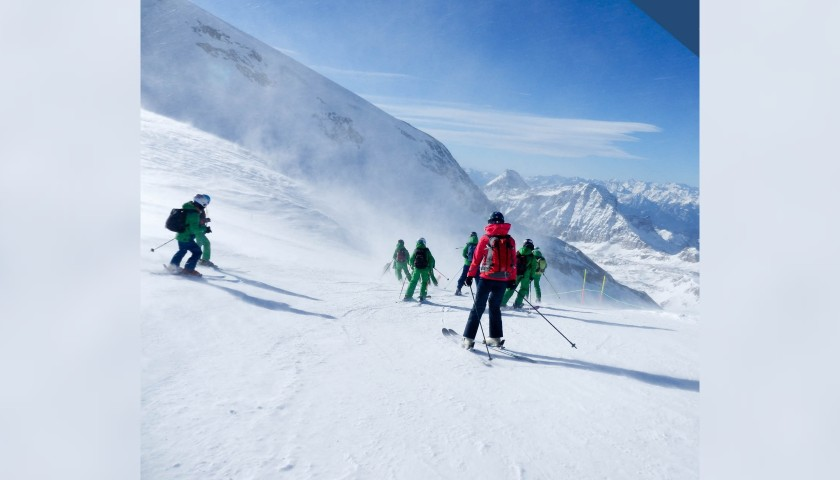 Group Skiing Lesson at the Mont Blanc Ski School in Courmayeur, Italy