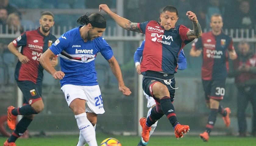Lapadula's UNWASHED Special Genoa-Sampdoria Match-Worn Shirt