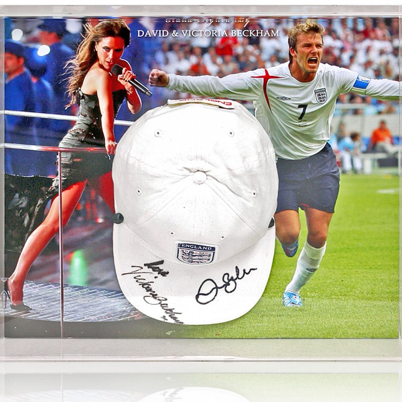 Victoria and David Beckham Hand Signed England Baseball Cap Display