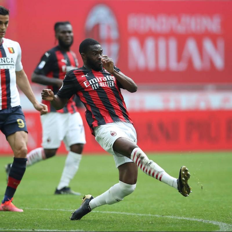 Tomori's Worn and Signed Shirt, Milan-Genoa 2021