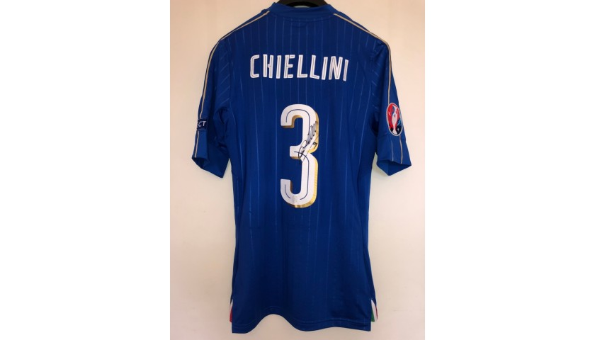 Chiellini's Match Signed Shirt, Italy-Spain 2016
