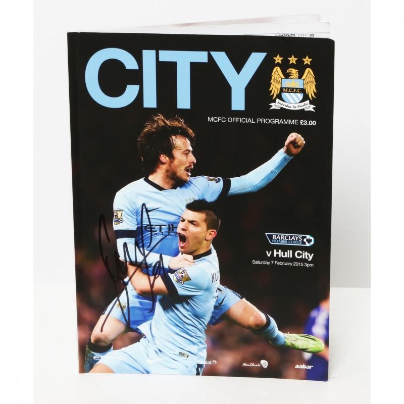 David Silva Manchester City v Hull City Signed Brochure