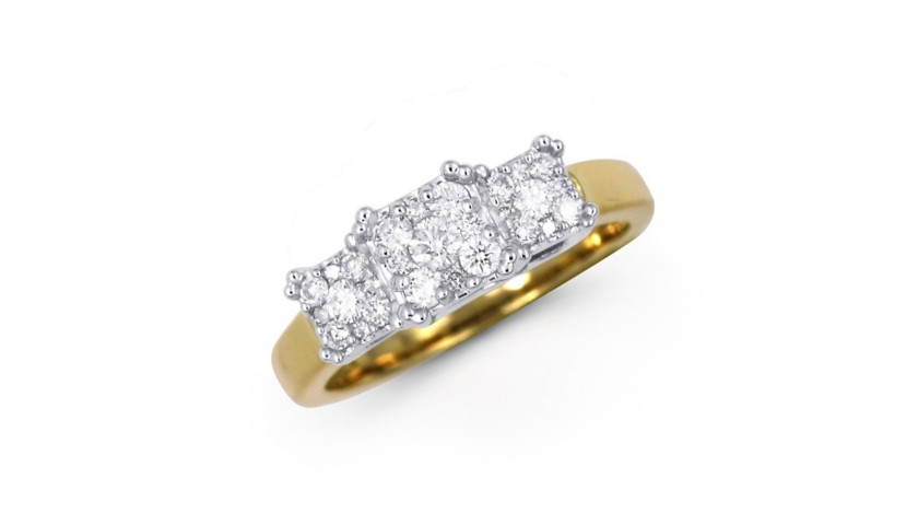14KT Two-Tone Ring with 3 Square Diamond Clusters 1.00 Carats