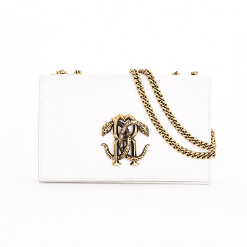 Roberto Cavalli Shoulder Bag with Mirror Snake Monogram