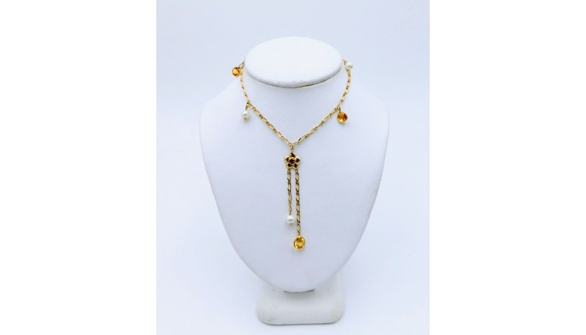Pearl and Citrine Necklace in 14KT Yellow Gold