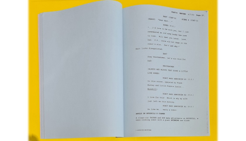 """The Simpsons Original Script - """"I, (Annoyed Grunt)-Bot"""""""