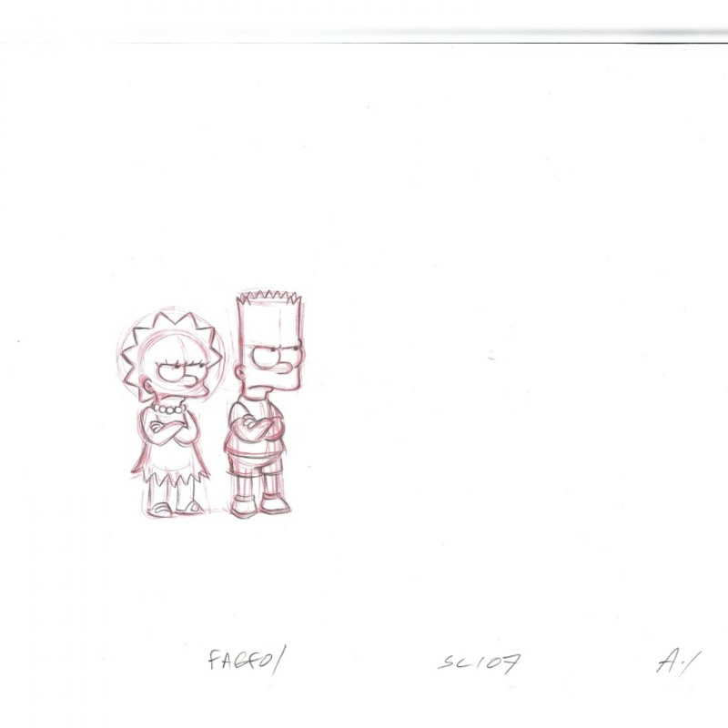The Simpsons - Original Drawing of Lisa and Bart Simpson