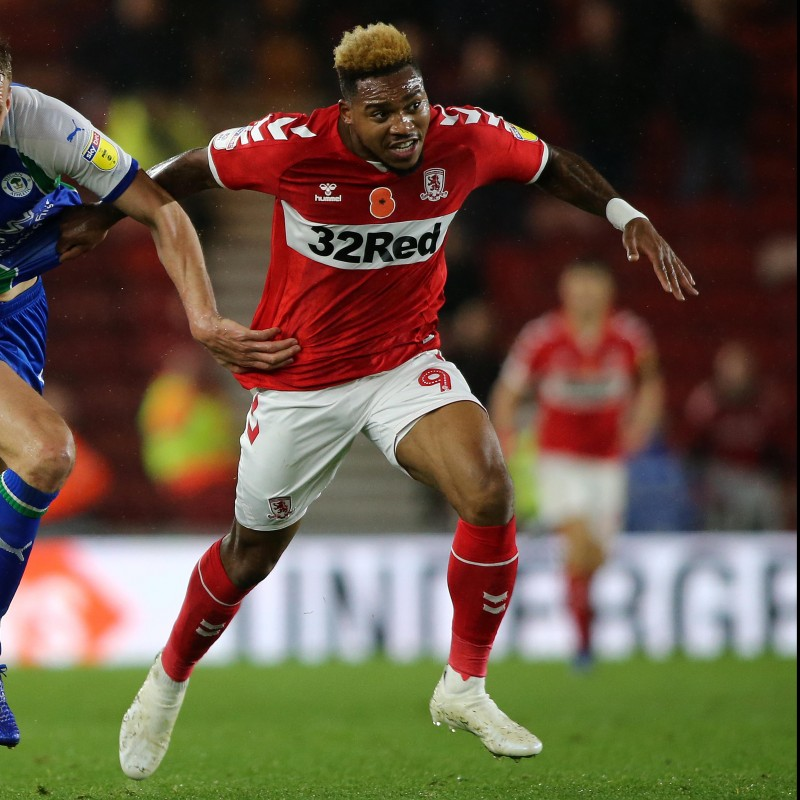Britt Assombalonga's Middlesbrough Worn and Signed Home Poppy Shirt